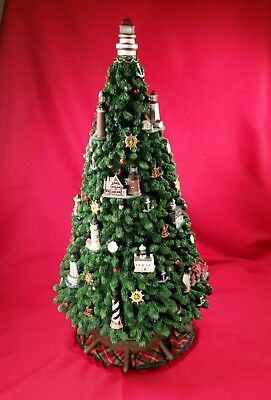 """Danbury Mint LIGHTHOUSE Christmas Tree Lights Illuminated 18"""" SOLD OUT RETIRED"""