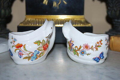 Vintage Pair Of Ardalt Swan Cup Candle Holders Decorated Flowers And Butterflies