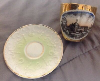 1904 World's Fair Gold And White Cup And Saucer Missouri State Building St Louis