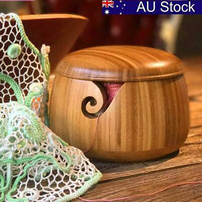 AU! Wooden Bamboo Yarn Bowl Holder+ Lid Knitting Tool Crochet Wool Storage Bowl