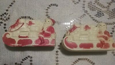 TWO 1950s Vintage Celluloid White / Red Santas in Sleigh with Christmas Gifts