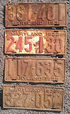 Maryland MD rat-rod license plates LOT : 1931 1932 1935 1936