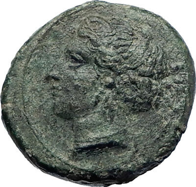SYRACUSE in SICILY Authentic Ancient 415BC Greek Coin NYMPH & DOLPHINS i73834