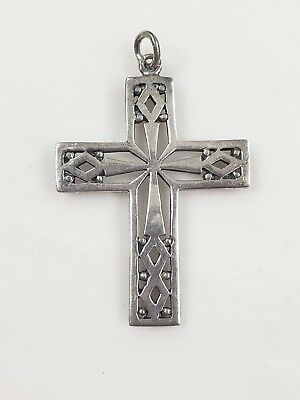 "Vintage Sterling Silver  Filigree Cross Pendant 1.75"" T 5 g"
