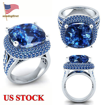 925 Sterling Silver Inlaid Sea Blue Cubic Zirconia Exquisite Ring Women Evening