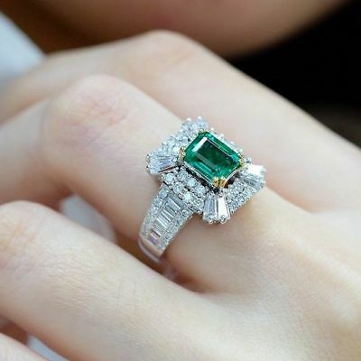 Ladies Fashion Silver Ring Princess Cut Emerald CZ Wedding Engagement Jewelry