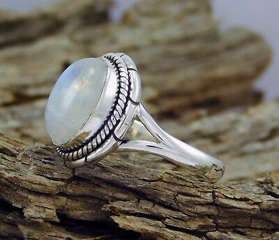 Retro Women Antique 925 Silver White Moonstone Wedding Party Ring Jewelry Size 8
