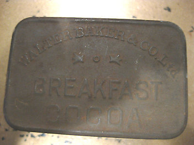 Mw: Walter Baker & Co Breakfast Cocoa Vintage Tin Advertising Tin Cooking