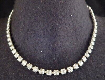 Vtg Antique? Art Deco Prong Set Clear Rhinestone Choker Necklace Unusual Clasp