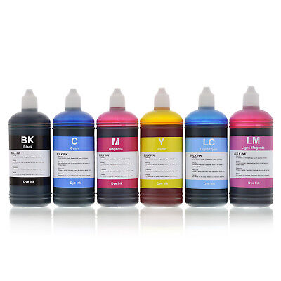 6 x 100ml Compatible Dye Inks for Epson printers refillable cartridges or CISS
