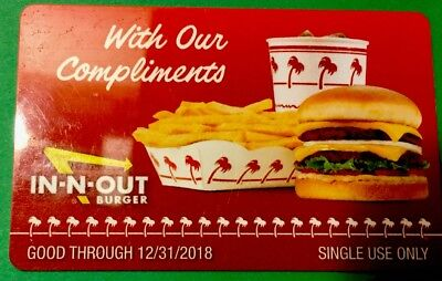 In-N-Out Gift Cards Complimentary Certificates