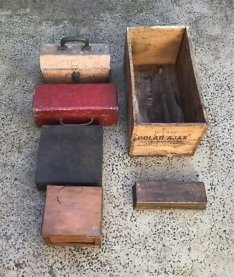 Old Antique Wooden / Timber Boxes and 1 Metal Tool Box.