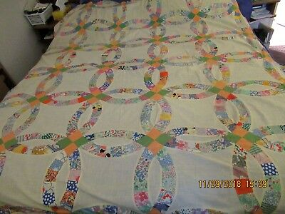"Antique Wedding Ring Quilt Top 66x80"" Approx Feed Sack Patchwork"
