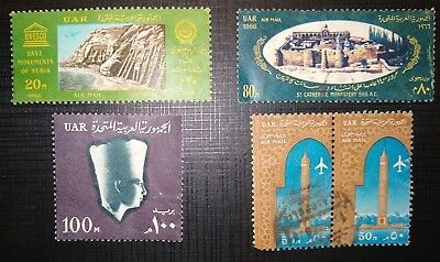 Uar / Egypt - 1964-6 Various High Values . 5 Used Stamps - Cairo Tower + Nubia.2