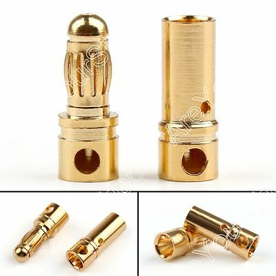 10Pairs 3.5mm Banana Plug Pin Bullet Connector Copper Battery Male+Female B2