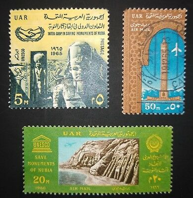 Uar / Egypt - 1964-6 Various High Values . 3 Used Stamps - Cairo Tower + Nubia.3