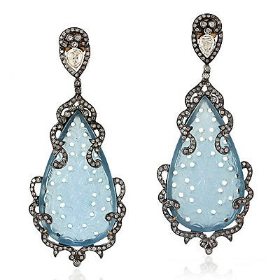Natural 2.95ct Pave Diamond Sterling Silver Carved Agate Vintage Earrings Gold