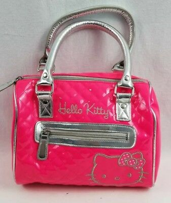 Hello Kitty Loungefly Patent Embossed embroidered Shiny Hot Pink Purse dbcec22c8d1c9