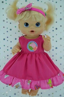 """Play n Wear Doll Clothes To Fit 13"""" Baby Alive PATTERN/HOT PINK DRESS~HEADBAND"""