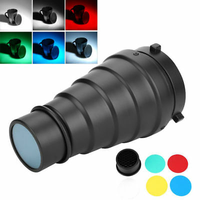 Conical Snoot+Honeycomb Grid+Color Filter For Bowens Mount Strobe Flash Kit