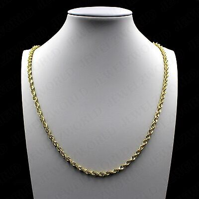 """Real 10K Solid Yellow Gold 2.5mm Diamond Cut Rope Chain Pendant Necklace 16""""-30"""""""