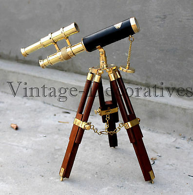 Double Barrel Nautical Telescope Marine Brass Working Spyglass With Wooden Stand