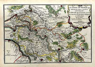Antique Map of The Course of the Rhine - original, printed in Paris in 1702