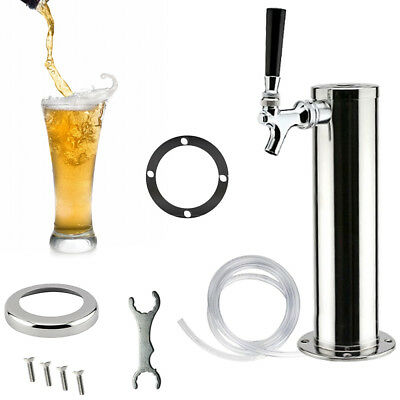 Single Tap Stainless Steel Draft Beer Tower Kegerator Chrome Faucet For Home/Bar