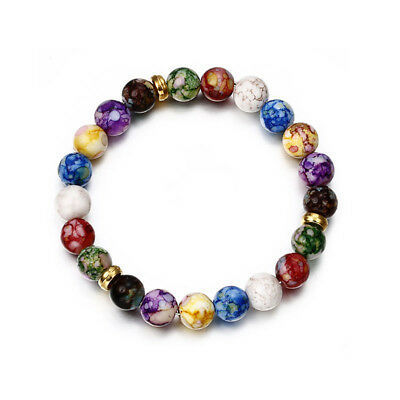 7 Chakra Healing Balance Beaded Bracelet Lava Yoga Relax Prayer AGATE 7 Inches