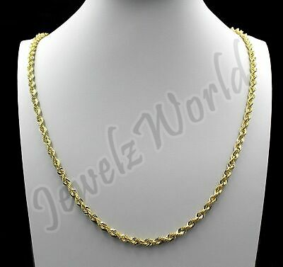 """Real 10K Yellow Gold 4mm Diamond Cut Rope Chain Pendant Necklace 18"""" - 30"""""""