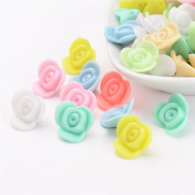 100 pcs Plastic Flower Opaque Acrylic Beads For DIY Jewellery Making 15x15x8mm