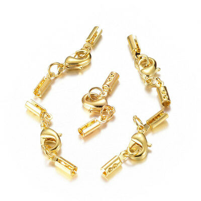 5 pcs Golden Color Brass Lobster Claw Clasps Findings with Cord Ends 7x3.5mm