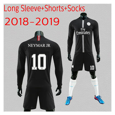 2019 Long Sleeve Football Suits Soccer Jerseys  For Kids 3-14Years Adults SML