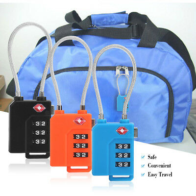 3 Dial Travel Luggage Suitcase Padlock Bag Code Combination Lock Flexible Cable