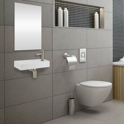 Fonteinset Differnz Solid Rechthoek 36x18.5x9cm Solid Surface Wit Chroom Toiletk