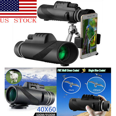 US High Power 40X60 HD Monocular Telescope Shimmer  Night Vision Outdoor Hiking