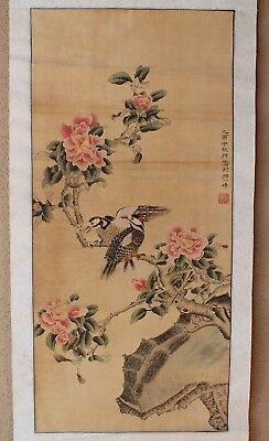 Xing  Wei Fing Chinese hand-painted REPRODUCTION scroll of Two birds