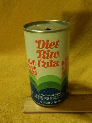 """Royal Crown Cola Co. (RC) Diet Rite ~ Steel Flat Top Pop Can ~ """"No Cyclamate"""" ~"""