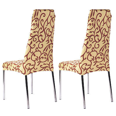 2x Housse De Chaise Universel Maison Bureau Salon Reception Rotin Cafe Marron