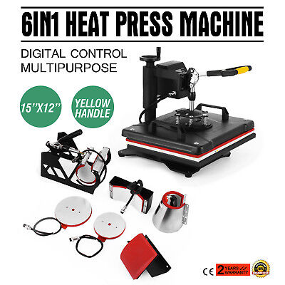 6In1 Digital T-Shirt Heat Press Machine Multifunctional Clamshell Sublimation