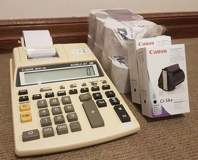 Vintage Canon P35-D Calculator With Printer, Plus Paper Rolls And Cartridges!