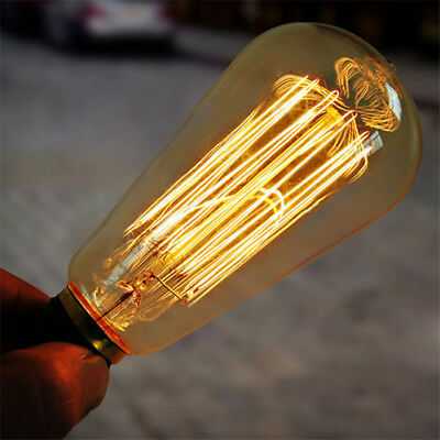 40W E27 220-240V Edison Light Bulb, Retro Yellow Light W-filament Bulb House Dec