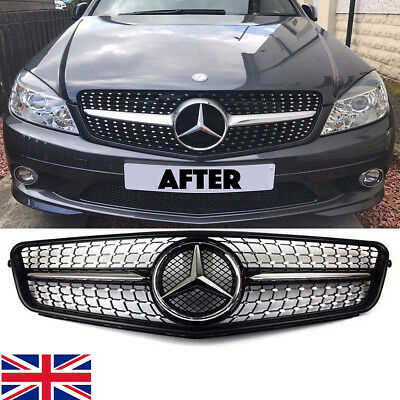 For Mercedes C w204 saloon,estate,coupe grill,star/diamond/single fin,AMG C43
