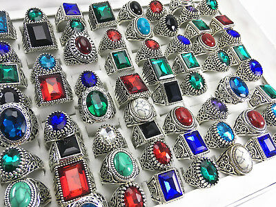 New 50pcs mens womens fashion jewelry rings vintage stone Ring party Gifts