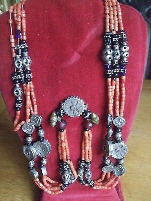 Antique Bukhara Coral, Silver & Glass Wedding Necklace