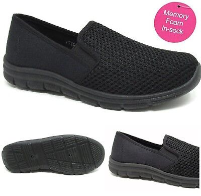 Ladies Womens Walking Slip On Walking Get Fit Go Mesh Comfort Pumps Trainers Sz