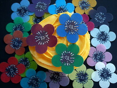 20 Pre-Cut Flowers Various Colours  Cup Cake Edible Rice Wafer Paper Toppers