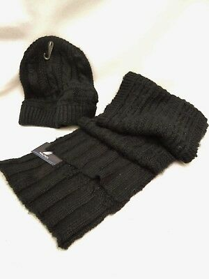 """Nautica~Nwt $49~Women's Black Winter Scarf/hat Set-Soft Cable Knit 9-1/2"""" X 72"""""""
