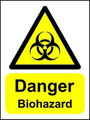 Warning signs Danger Biohazard Safety sign - Self adhesive sticker 200x150mm