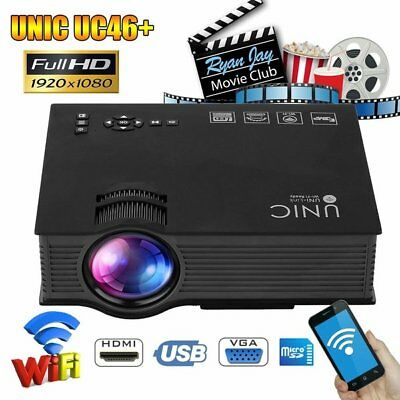 4K Android Wifi 3D Home-Theater LED Wireless Projector BT HDMI USB HD 1080P FA
